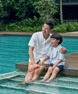 Father and Son By The Swimming Pool Leedon Green condo Holland Village
