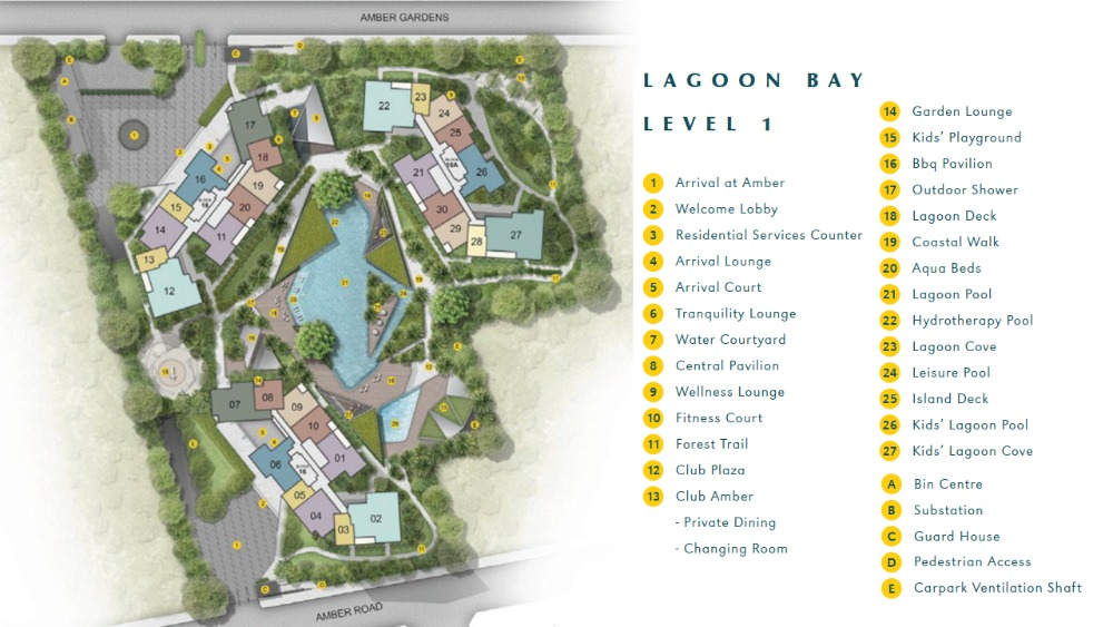 Amber Park site plan and floor plan are designed by Chan Soo Khian