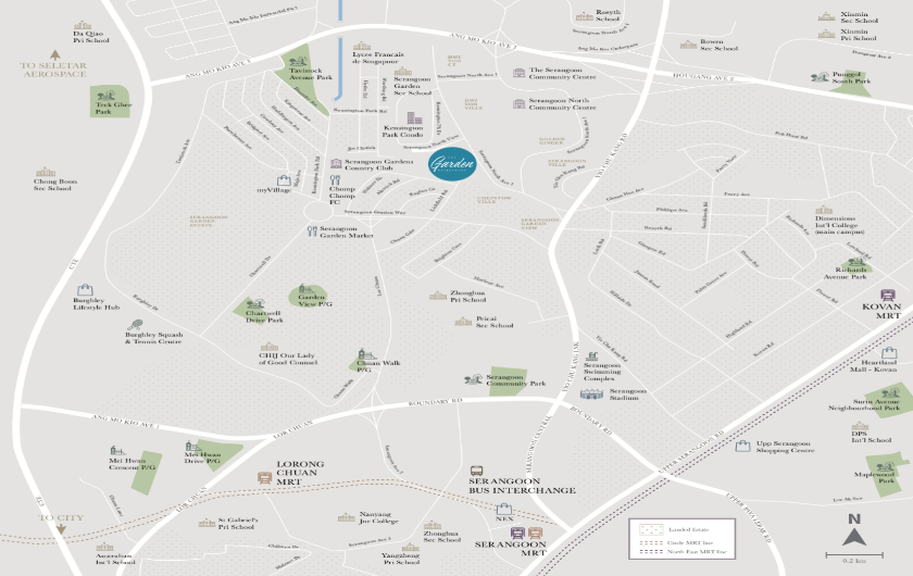 9 Serangoon North Avenue The Garden Residences Location Map